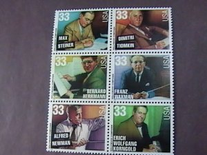 U.S.# 3339-3344(3344a)-MINT/NEVER HINGED-HOLLYWOOD COMPOSERS-BLOCK OF 6-1999