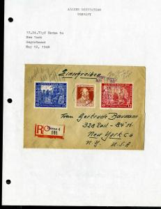 Germany Cover Reg w/Stamps to New York