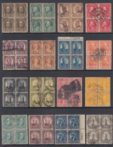 US Sc 551-573, 622, 623 used 1922-26 defintives cplt, Blocks of 4
