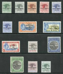 Bahamas SG162/75a 1942 Columbus Set of 14 Fresh M/Mint
