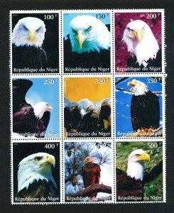 NIGER - block of 9 VFMNH - BALD EAGLE bird topical