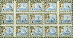 Gambia 1953 1d Dp Ultramarine & Dp Brown SG172 Superb MNH Block of 15
