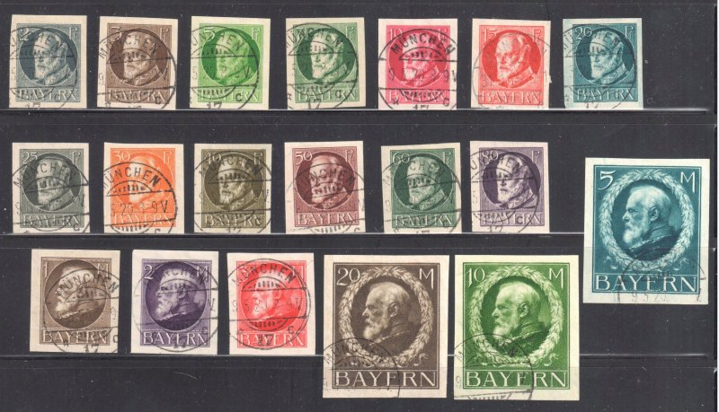 Bayern #117 to 135 USED Imperf All in ultimate perfect condition- SON CDS - RARE