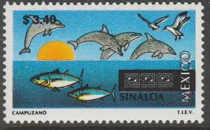 MEXICO 1969, $3.40 Tourism Colima, dolphins, tuna. Mint, Never Hinged F-VF.