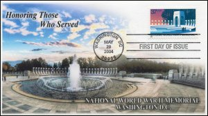AO-3862, 2004, National World War II Memorial, FDC, Add On Cachet, SC 3862