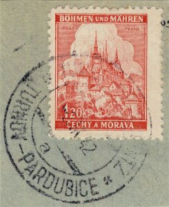 BÖHMEN u. MAHREN - 1942  TURNAU-PARDUBITZ  TPO n°10?a bilingual CDS on Mi.68