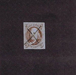SC# 1d USED 5 CENT FRANKLIN, 1847, PEN CANCEL, GOOD MARGINS, TINY THIN AT TOP