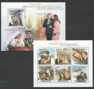 BC601 2011 Guinea-Bissau Matrimonio Principe William & Kate Middleton KB + Bl