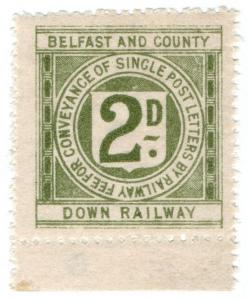 (I.B) Belfast & County Down Railway : Letter Stamp 2d