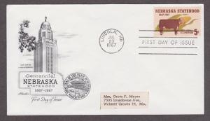 1328 Nebraska Centennial Artmaster FDC with address label
