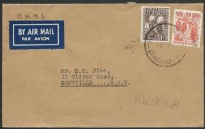 PAPUA NEW GUINEA 1960 cover RELIEF No.3 used at KWIKILA....................48530