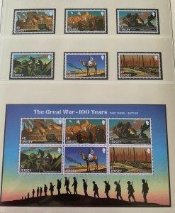 JE21) Jersey 2016 WWI Centenary Part 3 set of 6 & Sheetlet MUH