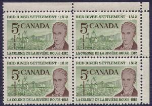 Canada USC #397ii Mint 1962 Red River Hibrite Blank UR Corner Block - VF-NH