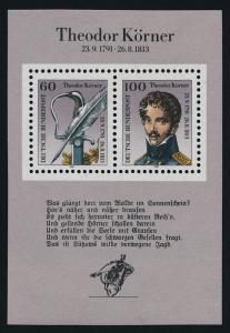 Germany 1685 MNH Theodor Korner