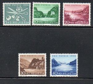 Switzerland Sc B252-56 1956  Pro Patria, views, stamp set mint NH