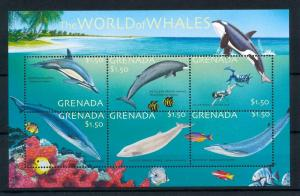 [99657] Grenada 2001 Marine Life Whales Dolphins Diving Sheet MNH