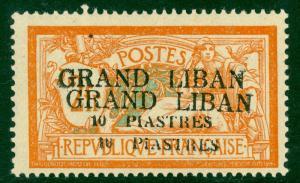 LEBANON - 1924 3pi on 60c Violet & Ultramarine Scott No. 13 MICRO SURCHARGE PROO