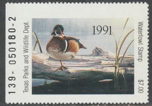 U.S.-TEXAS 11, STATE DUCK HUNTING PERMIT STAMP. MINT, NH. VF
