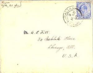 Gibraltar 2 1/2d KEVII 1907 Gibraltar, 25 to Chicago, Ill.