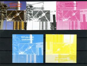 Gabon 2009 SPACE Apollo Progressive Color Proofs + original
