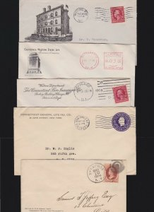 US Mixed Lot of 5 Insurance Advertising Covers w/Enclosure dated 1909