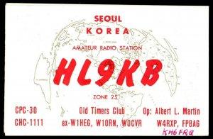 QSL Radio Card HL9KB,Old Timers Club,Albert L. Martin, Seoul, Korea (Q3183)