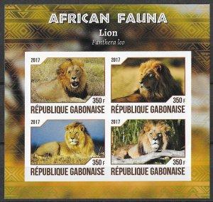 Gabon MNH S/S Lions African Fauna 2017