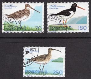 Faroe Islands  #28-30  1977 used  birds   complete