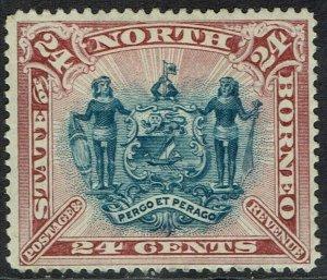 NORTH BORNEO 1894 ARMS 24C PERF 14.5-15