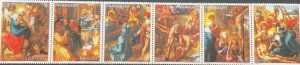 A) 1982, PARAGUAY, THE LIVING CHRIST, STRIP OF 6