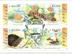 Aland Finland Sc 203 2002 Cuisine stamp set used block of 4
