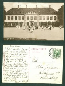 Denmark. Postcard. 1911 Private Girl School  Palæet Roskilde. Bicycle.People.