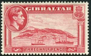 GIBRALTAR-1938-51 1½d Carmine Perf 13½.  A lightly mounted mint example Sg 123a