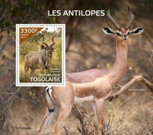 TOGO - 2019 - Antelopes - Perf Souv Sheet  - M N H