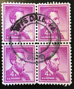 1036 Lincoln, Liberty Series, Circulated block, Vic's Stamp Stash