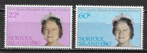 Norfolk Island 271-72 Queen Mother 80th Birthday MNH (lib)