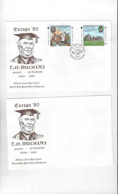 Isle of Man FDC 174-75  Europa 80, T. E. Brown  Official Cachet