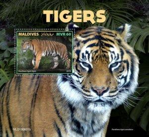 MALDIVES - 2019 - Tigers - Perf Souv Sheet - MNH