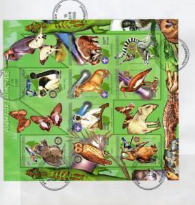 Madagascar 1999 Owl/Rotary/Lions/Lemours Shlt (9) Imperforated Sc#1416 FDC