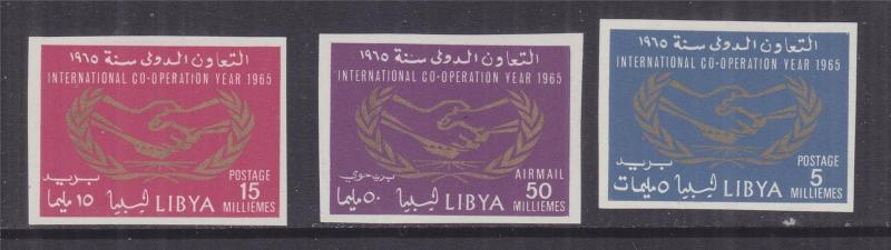 LIBYA, 1965 International Co-operation Year set of 3, IMPERF., lhm.