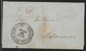 vtaeb.J) 1859 MEXICO, BLACK SEAL, CIRCULATED COVER, FROM FRANCO EN SAN LUIS