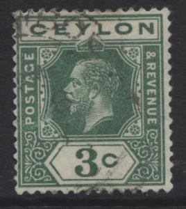 CEYLON -Scott 202 -KGV - Definitive Issue -1912 - VFU - Single  3c  Stamp