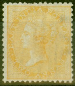 India 1863 2a Yellow SG43 Good Mtd Mint with Orginal Gum Showing Paper Makers Wa