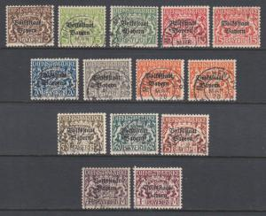 Bavaria Sc O20-O33 used. 1918 Officials with Volkstaat ovpts, cplt set