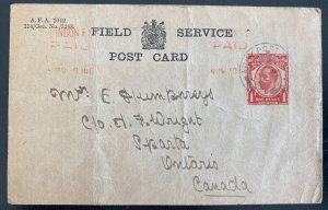 1914 Canadian Army Overseas England Postcard Cover To Sparta Canada WWI