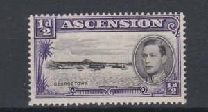 ASCENSION  1938  S G 38 1/2D BLACK  & VIOLET PERF 131/2 MNH