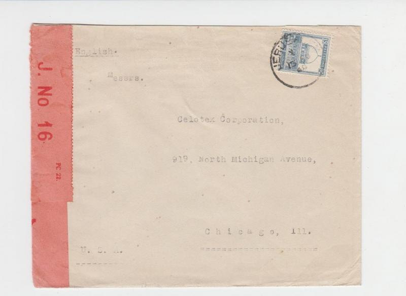 PALESTINE -USA 1940 CENSOR COVER, TAPE TYPE 3A(5)J.No16, 15m RATE(SEE BELOW)