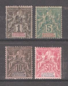 French Anjouan 1892,Navigation & Commerce Sc 1,Sc 4-5,Sc 16,F-VF Mint* (FC-4)
