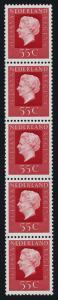 Netherlands 542 coil strip of 5 MNH Queen Juilana