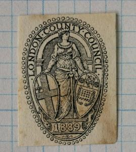 London county council 1889 official postal envelope embossed seal emblem DM